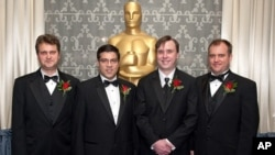 Ian Caven (left), Ian Godin (left center), Tim Connolly (right center) and Kimball Thurston prior to the Academy of Motion Picture Arts and Sciences' Scientific and Technical Achievement Awards on February 11, 2012, in Beverly Hills, California.