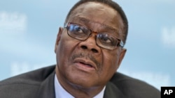 FILE - Malawi's President Peter Mutharika. Since Sunday, Malawi police have rounded up three officials of the main opposition Malawi Congress Party.