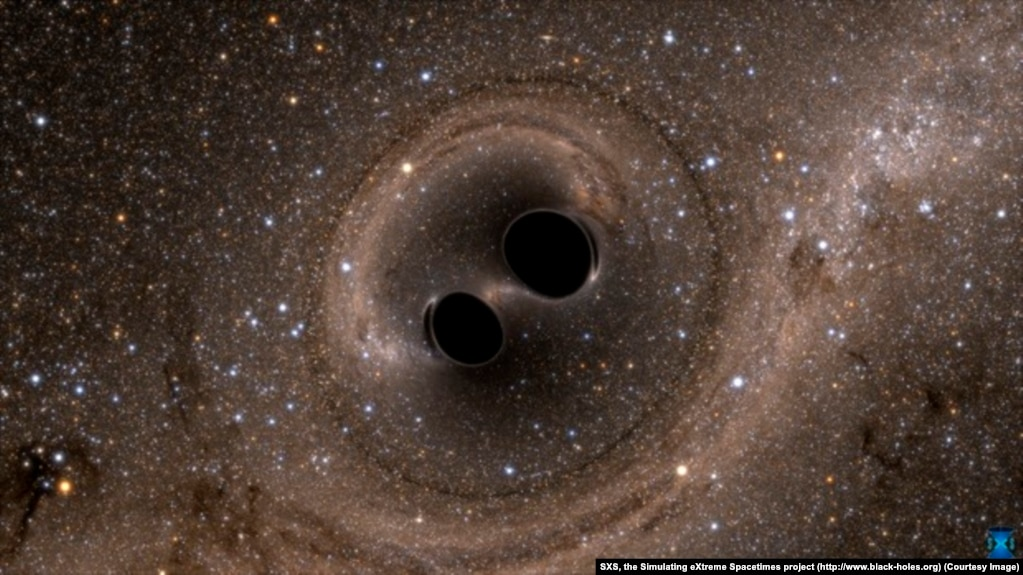 A computer simulation of the collision of two black holes —a tremendously powerful event detected this year for the first time ever by LIGO
