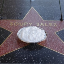 A pie is left on the star of Soupy Sales on the Hollywood Walk of Fame in Los Angeles on Friday, Oct. 23, 2009.