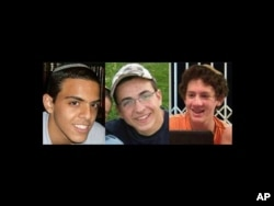 FILE - A combination of three photos of, from left, Israeli teens Eyal Yifrah, 19, Gilad Shaar, 16, and Naftali Fraenkel, a 16-year-old with dual Israeli-U.S. citizenship, who disappeared near Hebron on June 12.