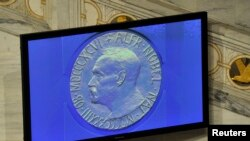 FILE - Screen showing the Nobel Prize medal during the Nobel Peace Prize ceremony in Oslo, Dec. 10, 2010.