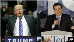 Republican presidential candidates, from left, businessman Donald Trump and Texas Senator Ted Cruz.
