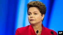 FILE - Brazil's President Dilma Rousseff during a televised presidential debate in Sao Paulo, Sept. 28, 2014.
