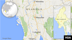 Map showing students route from Mandalay to Letpadan, Myanmar