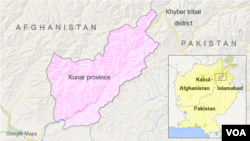 ແຜນທີ່ ແຂວງ Kunar ປະເທດ Afghanistan.