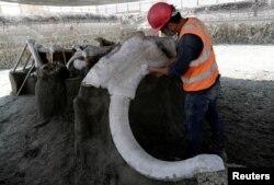 Seorang pekerja di Institut Nasional Antropologi dan Sejarah Meksiko (INAH) bekerja di situs di mana 100 tulang-belulang mamut atau gajah prasejarah diidentifikasi, di lokasi pembangunan bandara baru di Zumpango, dekat Mexico City, 8 September 2020. (Foto