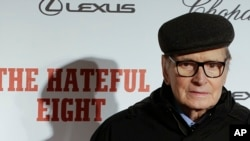 "Composer Ennio Morricone arrives for the screening of the movie ""The Hateful Eight,"" in Rome, Jan. 28, 2016."