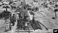 Chinese laborers worked on the transcontinental railroad in Nevada in 1868. (AP Photo/Southern Pacific News Bureau)