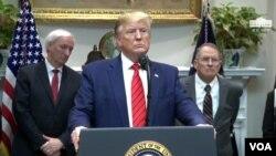 نشست خبری دونالد ترامپ رئیس جمهوری ایالات متحده در کاخ سفید، واشنگتن - ۱۷ مهر ۱۳۹۸