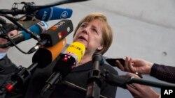 20일 베를린에서 앙겔라 메르켈 독일 총리가 키프로스 사태에 관한 입장을 밝히고 있다.