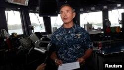 美軍太平洋艦隊司令哈里斯2014年1月22日在新加坡對媒體講話。