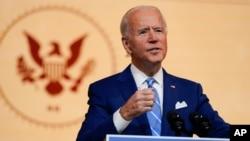 President-elect Joe Biden speaks at The Queen theater, Nov. 25, 2020, in Wilmington, Del.