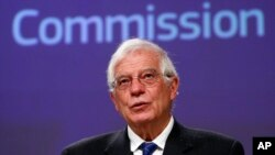 European High Representative for Foreign Affairs and Security Policy and Vice-President of the European Commission Josep Borrell, holds a virtual news conference in Brussels, March 31, 2020.