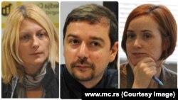 Bojana Selaković, Građanske inicijative; Stevan Dojčinović, KRIK; Dragana Žarković Obradović, BIRN