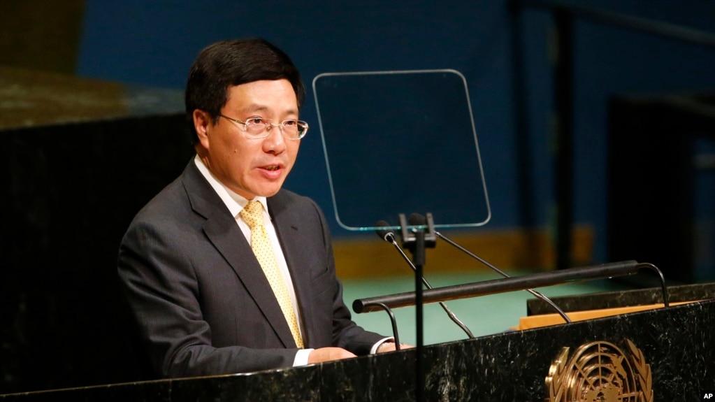 Phó Thủ tướng kiêm Bộ trưởng Ngoại giao Phạm Bình Minh phát biểu trước Đại Hội đồng Liên Hợp Quốc năm 2016.