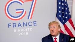 Rais Donald Trump akiwa Ufaransa baada ya mkutano wa G7, Agosti 26, 2019. (AP Photo/Andrew Harnik)