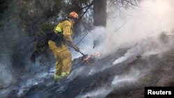 A firefighter works to put out a brush fire burning on the eastbound Ventura (134) Freeway in Los Angeles, California, Aug. 7, 2015.