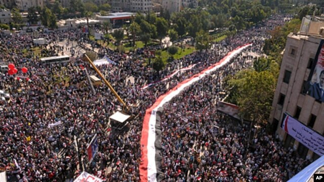 A handout picture released by the Syrian Arab News Agency (SANA) shows hundreds of supporters of Syrian President Bashar al-Assad as they take part in a pro-regime rally in Aleppo, Syria October 19, 2011.