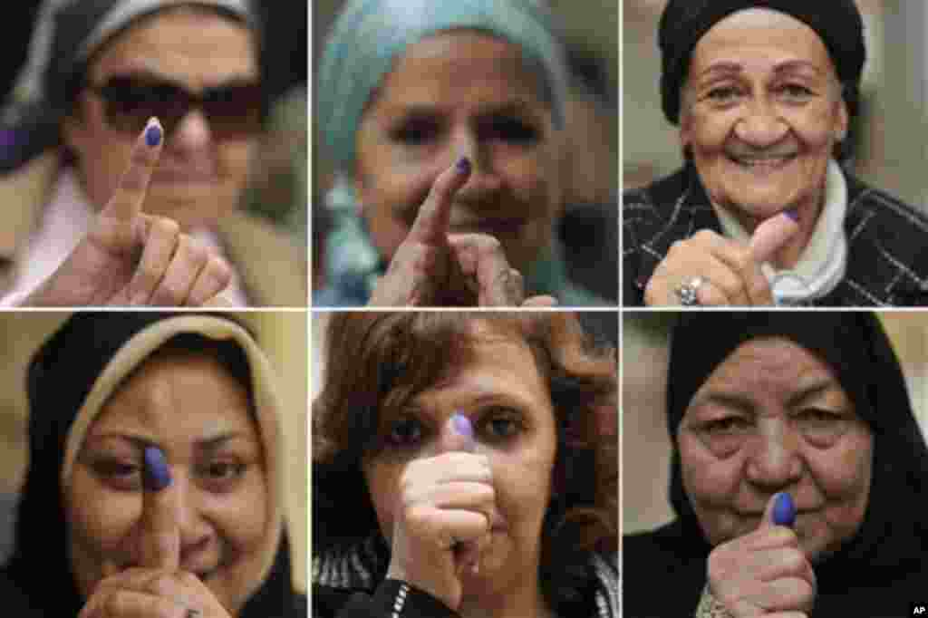 In this combo image made from six photos, Egyptian women pose with their inked fingers after voting at a polling station in Cairo, Egypt, Tuesday, Nov. 29, 2011. Long lines formed at polling stations for a second day of voting Tuesday and the head of the