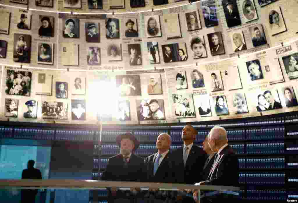Obama tours the Hall of Names during his visit to the Yad Vashem Holocaust Memorial in Jerusalem, March 22, 2013. With him are Rabbi Israel Meir Lau, Israeli Prime Minister Benjamin Netanyahu, Chairman of the Yad Vashem Directorate Avner Shalev and Israeli President Shimon Peres.