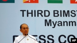 Burmese President Thein Sein speaks during a press conference at the third Bay of Bengal Initiative for Multi-Sectoral Technical and Economic Cooperation (BIMSTEC) summit at the Myanmar International Convention Centre (MICC) in Naypyitaw, Burma, March 4,