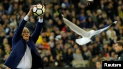 Brazil's coach Tite catches a ball as seagulls fly around the stadium.