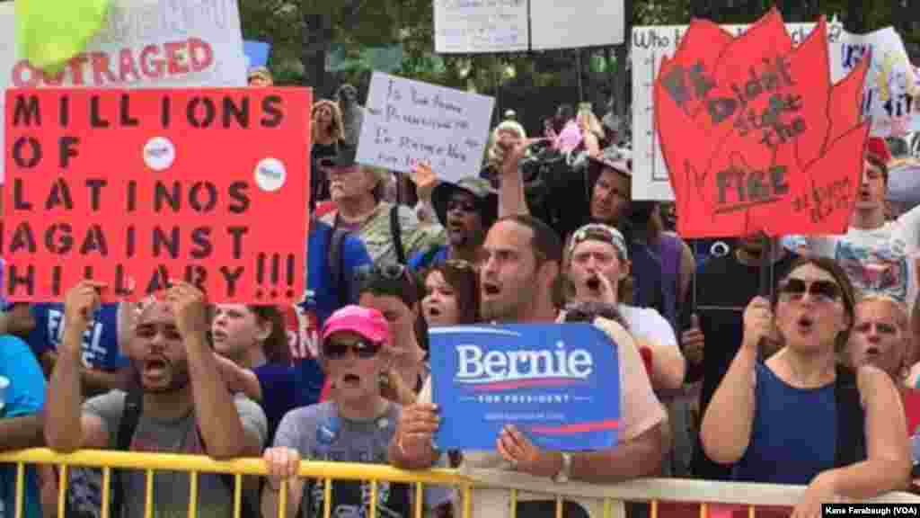 Bernie Sanders supporters protest outside the site of the DNC convention in Philadelphia.