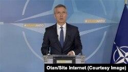 Le secrétaire général de l'Otan, Jens Stoltenberg, d'une conférence de presse, à Bruxelles, 14 avril 2018. (Otan/Site Internet)