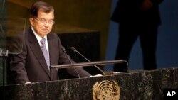 Wakil Presiden Indonesia Jusuf Kalla saat menyampaikan pidato pada KTT Pembangunan Berkelanjutan di New York (26/9).
