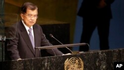 Wakil Presiden Jusuf Kalla saat menyampaikan pidato di Sidang Umum PBB di New York, Sabtu (26/9).