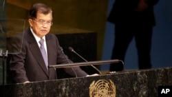 Wakil Presiden Jusuf Kalla berpidato di KTT Pembangunan Berkelanjutan di PBB, New York, 2015. (Foto: Dok)