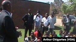 Chinhoyi Mayor Test Michael addresses Zimbabwe National Junior Council Association.