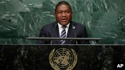 Filipe Jacinto Nyusi, the president of Mozambique, speaks during the 71st session of the United Nations General Assembly, Wednesday, Sept. 21, 2016, at the U.N. headquarters.