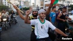 2014年8月26日巴勒斯坦人在加沙城庆祝停火