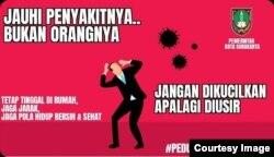 Gambar kampanye penghapusan stigma pada penderita virus corona di Solo, Kamis (16/4). Sumber : Humas Pemkot Surakarta