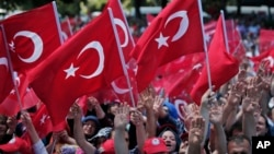 支持政府的示威者挥舞土耳其国旗抗议未遂政变(2016年7月19日)