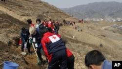 國際紅十字會人員在北韓資料照。