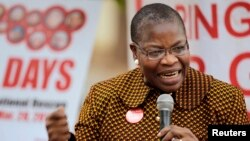 FILE - Former Nigerian education minister Obiageli Ezekwesili speaks during a daily sit-in of the #BringBackOurGirls protest in Abuja, Feb. 24, 2015.