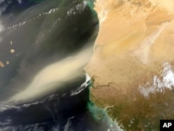 Saharan dust blowing off Northwest Africa to the Atlantic Ocean