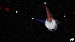 Esta imagen generada en computadora muestra el concepto de la empresa Planetary Resources de extraer minerales y combustible de los asteroides que se acercan a la tierra.