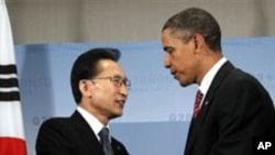 이명박 한국 대통령(좌)과 바락 오바마 미국 대통령(우) (자료사진)