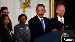 바락 오바마 미국 대통령이 5일 백악관에서 총기 규제 행정명령을 발표하고 있다.