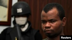 Kabiru Sokoto, a suspect in a Christmas Day bomb attack of St. Theresa Catholic Church in Madalla near Nigeria's capital, at the state security service office, Abuja, Feb. 10, 2012.