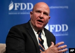 FILE - National security adviser H.R. McMaster speaks during the Foundation for Defense of Democracies National Security Summit in Washington, Oct. 19, 2017.