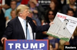FILE - U.S. Republican presidential candidate Donald Trump holds a sign supporting his plan to build a wall between the United States and Mexico that he borrowed from a member of the audience at his campaign rally in Fayetteville, North Carolina, March 9