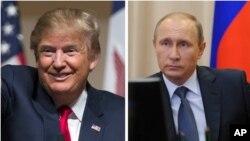俄羅斯總統普京(右)電賀川普(左)當選美國總統。