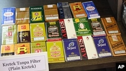 Local Indonesian cigarette brands on display at the World Tobacco Asia 2010 exhibition in Jakarta