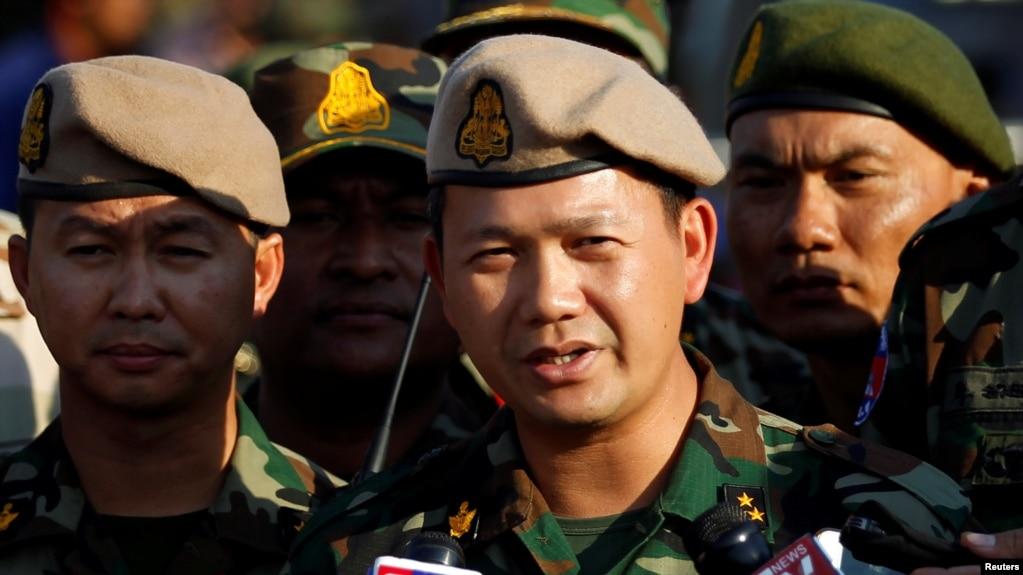 Trung tướng Hun Manet kiêm phó tư lệnh của Lực lượng Vũ trang Hoàng gia Campuchia Hun Manet phát biểu trong một cuộc thi thể thao hàng năm ở Phnom Penh, Campuchia, ngày 11 tháng 1, 2018.