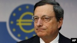 President of European Central Bank Mario Draghi addresses the media in Frankfurt, Germany, Thursday, Aug. 2, 2012.